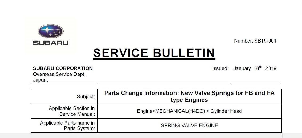 Subaru SB19-001 NEW VALVE SPRINGS FOR FA/FB ENGINES - Scion FR-S